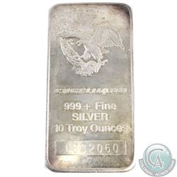 Vintage Engelhard 10oz 999+ Fine Silver Bar (TAX Exempt). Serial # C832060 - 3rd series standard com