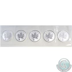 Strip of 5x 2016 Canada $5 Panda Privy Mark $5 1oz. Silver Maple Leaf coins (TAX Exempt). Coins come