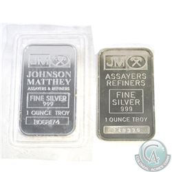 Pair of Johnson Matthey 1oz 999 Fine Silver Bars (TAX Exempt). Receive 1oz example first produced in