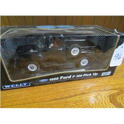 Ford F100 1956 pickup truck on oak base (Black colour) 1/16 scale
