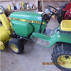 """John Deere 317 add """"dual hydraulics, with 46in. mower, snow blower and rotary tiller"""". FULL SIZE"""