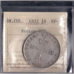 Br 857.  1822 Anchor Money half dollar.