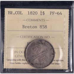 Br 858.  Proof 1820 Anchor Money quarter dollar.
