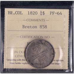 Br 858.  Proof 1820 Anchor Money quarter dollar.