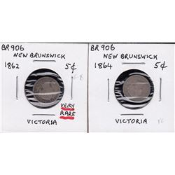 Br 906.  A pair of N.B. 5 cents.