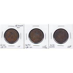 A trio of nicer Br 910. 1843 Halfpennies.