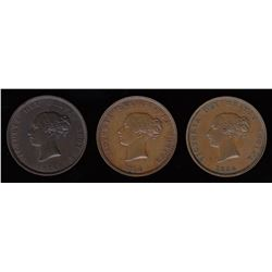 Br 912. A trio of 1854 halfpennies.