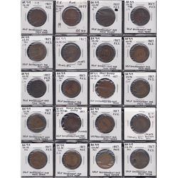 "Lot of 52 Br 919, all ""1857""."