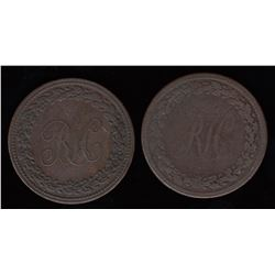 Breton Tokens - Br 989. A pair of RH Pennies