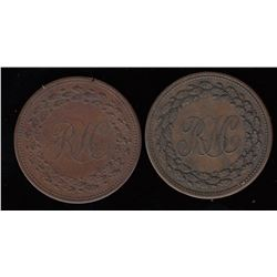 Breton Tokens - Br 990.  A pair of RH halfpennies.