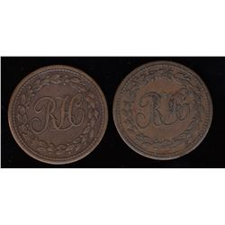 Breton Tokens - Br 991. A pair of RH farthings.