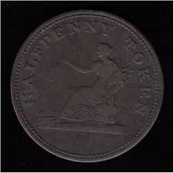 Breton Tokens - Br 1005. Seated Justice halfpenny.