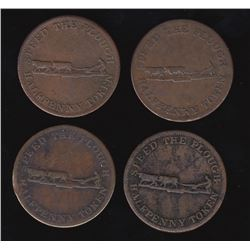 Breton Tokens - Br 1010.  Group of 4.