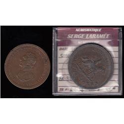 Wellington Tokens - Br 984 and 985.  Wellington Pennies