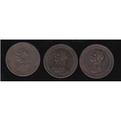 Wellington Tokens - Br 984.  Group of 3.