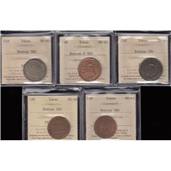 Br 582-586.  Group of five ICCS-graded Leroux pieces.