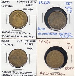 Br 589.  Group of four Teutonia Club tokens.