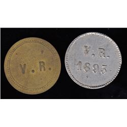 Br 621 and 623. V(ital) R(aparie) Saloon tokens.
