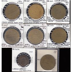 Br 640-646.  Eight different Ludger Gravel tokens.
