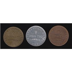 Br 656. John Tyo's International Hotel token, in three metals.