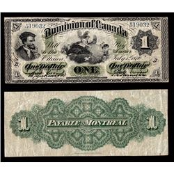 Dominion of Canada $1, 1870 Payable at Montreal Large Date