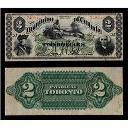 Dominion of Canada $2, 1870 Payable at Toronto