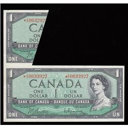 1954 Bank of Canada $1 Fold & Cut Error Replacement Note