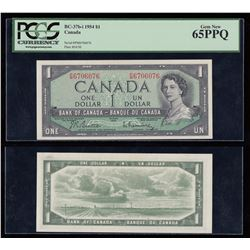 Bank of Canada $1, 1954 Radar