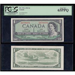 Bank of Canada $1, 1954 Radar