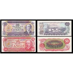 Bank of Canada $10, 1971 & $50, 1975 Low Serial Numbered Duo