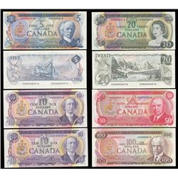 Bank of Canada $10, 1971 & $50, 1975 Multi-coloured Low Serial Numbered Set