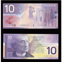 Bank of Canada $10, 2001 - Mismatched Serial Number Error
