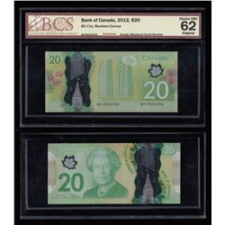 Bank of Canada $20, 2012 - Double Misplaced Serial Number