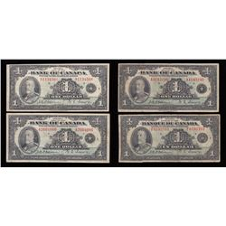 Bank of Canada $1, 1935 - Lot of 4