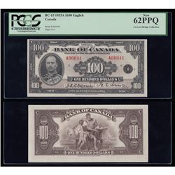 Bank of Canada $100, 1935 LOW SERIAL NUMBER 41