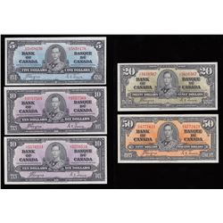Lot of Five Bank of Canada $5 - $50 Lot, 1937