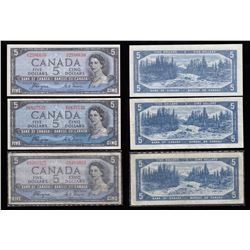 Bank of Canada $5, 1954, Devil's Face - Lot of 3