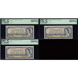 Lot of 3 Consecutive Bank of Canada $20, 1954 Devil's Face