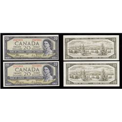 Bank of Canada $20, 1954, Devil's Face - Lot of 2