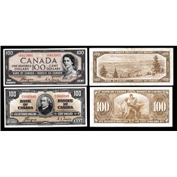 Bank of Canada $100, 1954 Devil's Face & 1937 - Lot of 2