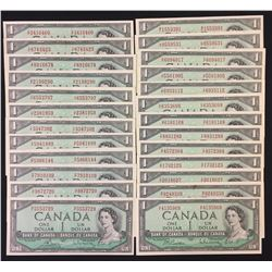 Bank of Canada $1, 1954, Prefix Set - Lot of 25