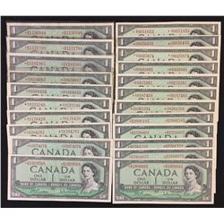 Bank of Canada $1, 1954, Replacement Notes - Lot of 22