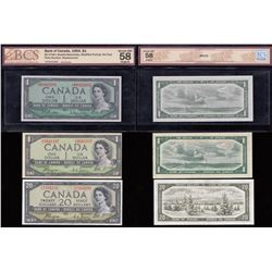 Bank of Canada $1 Trio, 1954