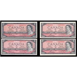 Bank of Canada $2, 1954, Replacement Notes - Lot of 4