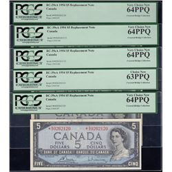 Bank of Canada $5, 1954, Replacement Notes - Lot of 5 Consecutive