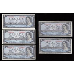 Bank of Canada $5, 1954 - Replacement Notes - Lot of 5
