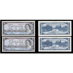 Bank of Canada $5, 1954, Replacement Notes - Lot of 2