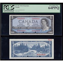 Bank of Canada $5, 1954 Specimen