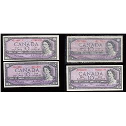 Bank of Canada $10, 1954 - Replacement Notes - Lot of 4
