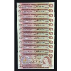 Bank of Canada $2, 1974 - Lot of 12 Banknotes